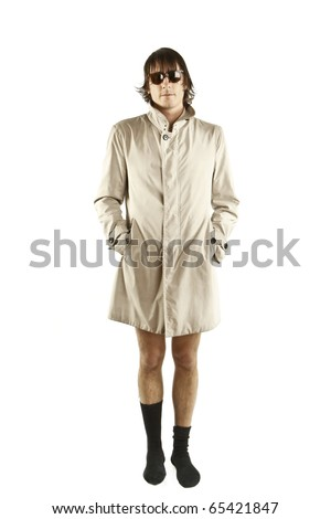 weird man with trenchcoat - stock photo