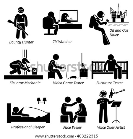 Weird Unusual Odd Job - Bounty Hunter, TV Watcher, Oil and Gas Diver, Elevator Mechanic, Video Game Tester, Furniture Testing, Sleeper, Face Feeler, Voice Over Artist - Stick Figure Pictogram Icons - stock photo
