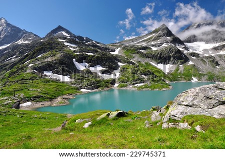 Weisssee, White Lake in National park Hohe Tauern - Austrian Alps, Austria, Europe - stock photo