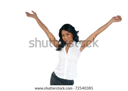 Welcome African American Woman - stock photo