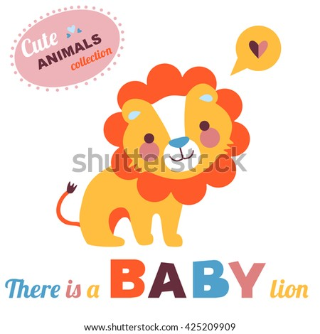 Welcome baby card illustration. Lion baby. Cute animals collection