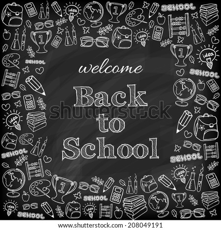 Welcome back to school card. Doodle pen drawn background. - stock photo