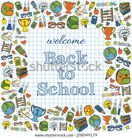 Welcome back to school colored card. Doodle pen drawn background.  - stock photo
