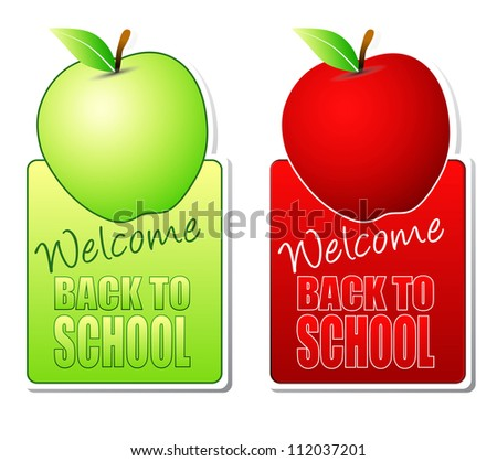 welcome back to school green and red labels - stock photo