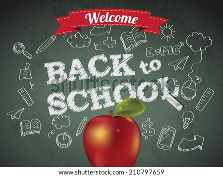 Welcome back to school with text on chalkboard and apple - stock photo