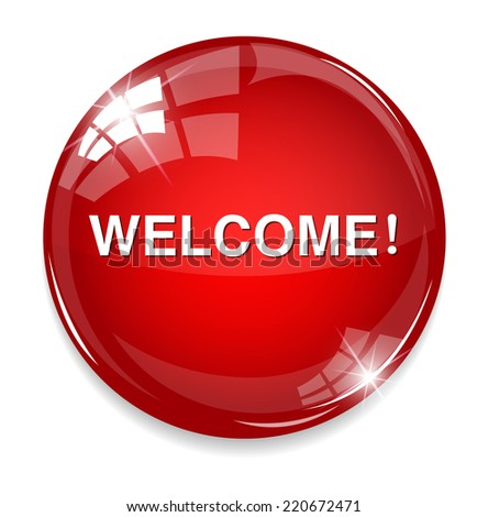 Welcome button - stock photo