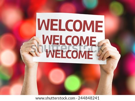 Welcome card with colorful background with defocused lights - stock photo
