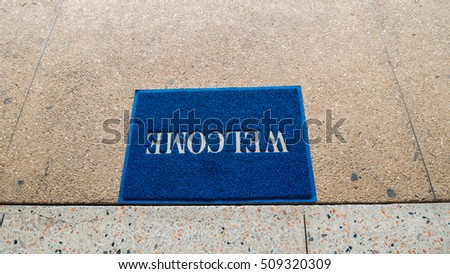 welcome carpet at the door texture background