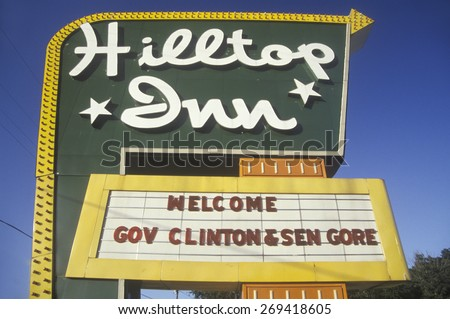 Welcome Clinton/Gore sign on the 1992 Buscapade campaign tour in Texas - stock photo