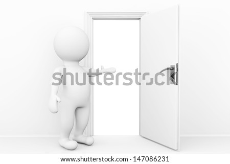 Welcome concept. 3d person welcome and invites in open door - stock photo