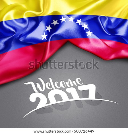 Welcome 2017 creative typography Venezuela Flag on Texture background