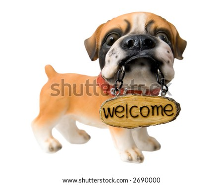 Welcome. Dog figure with tablet. - stock photo