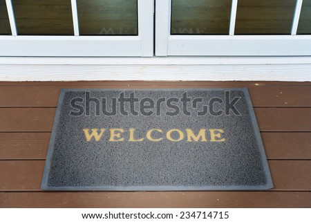 welcome door mat - stock photo