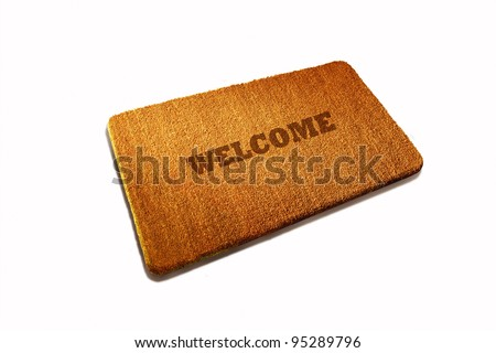 Welcome Door mat natural fiber on white background
