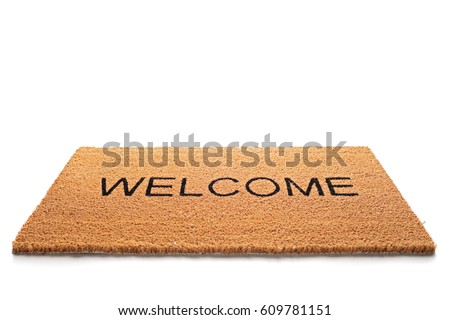 Welcome doormat isolated on white background
