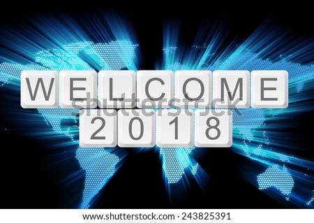 Welcome 2018 from keyboard button with shiny world background - stock photo