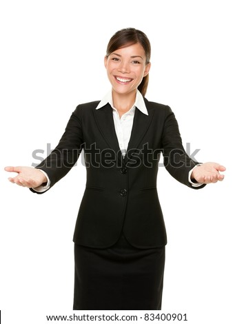 welcome gesture business woman smiling friendly and welcoming isolated on white background. Beautiful mixed race asian caucasian businesswoman model. - stock photo