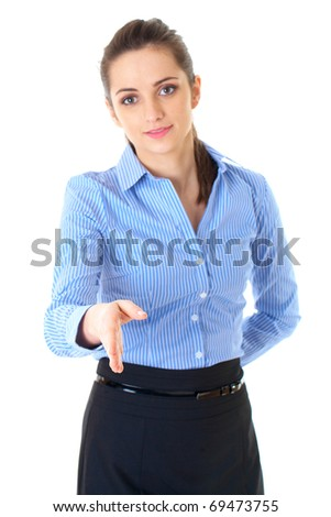 welcome gesture, businesswoman in blue shirt isolated on white - stock photo
