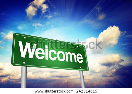 Welcome Green Road Sign, Business Concept - stock photo