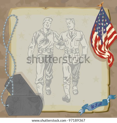 Welcome Home Hero Military Party Invitation  Loosely drawn American Flag, dog tags, and vintage military men against grungy old paper with a camouflage background. - stock photo