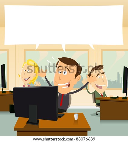 Welcome In Business/ Illustration of cartoon business people cheerful and happy at the office - stock photo
