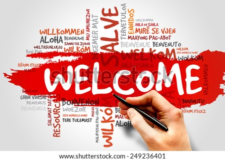 Welcome in different languages word cloud, business concept - stock photo