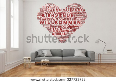 Welcome in many languages in heart shape as wall sticker in living room (3D Rendering) - stock photo