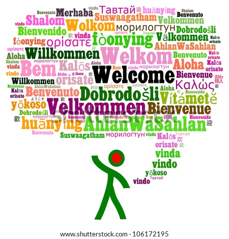 Welcome in multiple languages composed in the shape of speech bubble - stock photo