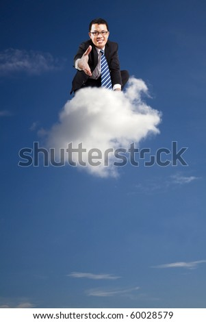 welcome join cloud business .businessman welcoming handshake on the cloud - stock photo