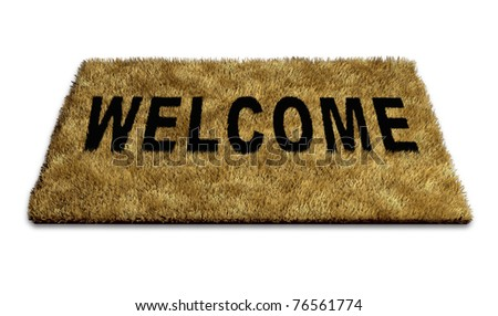 Welcome mat carpet isolated on white representing the concept of welcoming new ideas and people to a home or business and also symbolising the concept of open doors policy towards creative thinking.