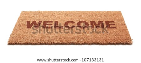 Welcome mat isolated - stock photo