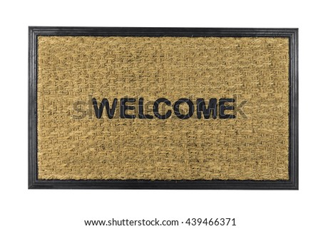Welcome mat isolated on white with clipping path.   - stock photo