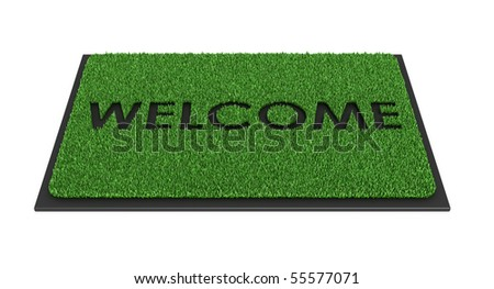 Welcome mat isolated over white - 3d render - stock photo