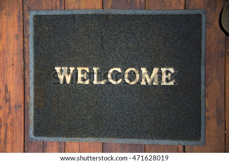 Welcome mat on a porch.vintage