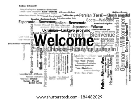 Welcome phrase in 78 different languages. Words cloud concept - stock photo