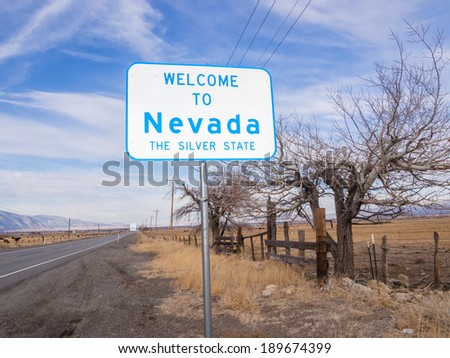 Welcome sign at California-Nevada State Line on highway 88 - stock photo