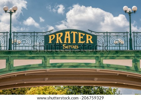 Welcome sign at the entry of the public Prater Park in Vienna - stock photo