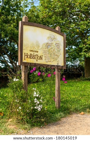 Welcome sign - Hobbiton, Matamata, North Island - New Zealand - stock photo
