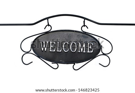Welcome sign isolated on white.  - stock photo