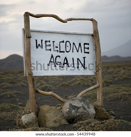 Welcome sign, Tanzania, Africa