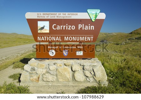 Welcome sign to Carrizo National Monument, in Southern California near Soda Lake in spring