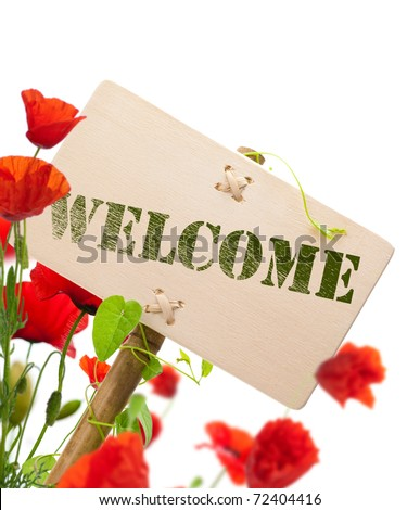 Welcome sign, wooden panel green plant and poppies - image is isolated on a white background - stock photo