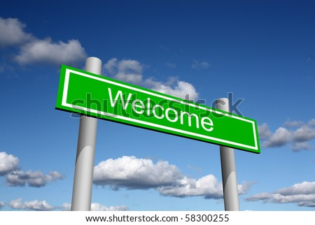 Welcome street sign - stock photo
