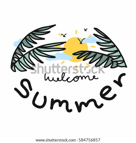 welcome summer word illustration on white stock illustration rh shutterstock com