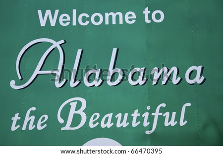 Welcome to Alabama road sign - stock photo