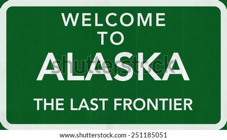 Welcome to Alaska USA Road Sign - stock photo