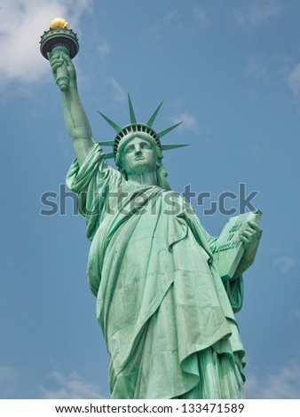 Welcome to America - The Statue of Liberty in New York - stock photo