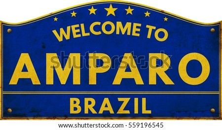 Welcome to AMPARO BRAZIL highway road text sign blue.
