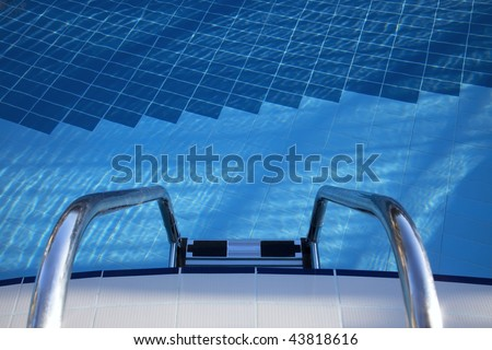 welcome to cool blue swimpool - stock photo