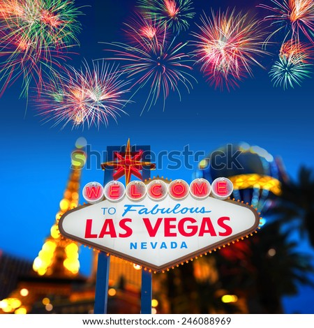 Welcome to Fabulous Las Vegas Neon Sign - stock photo